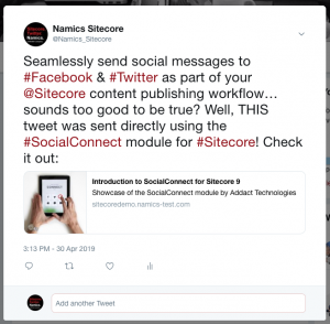 Sitecore Social Connected - Twitter Post Example
